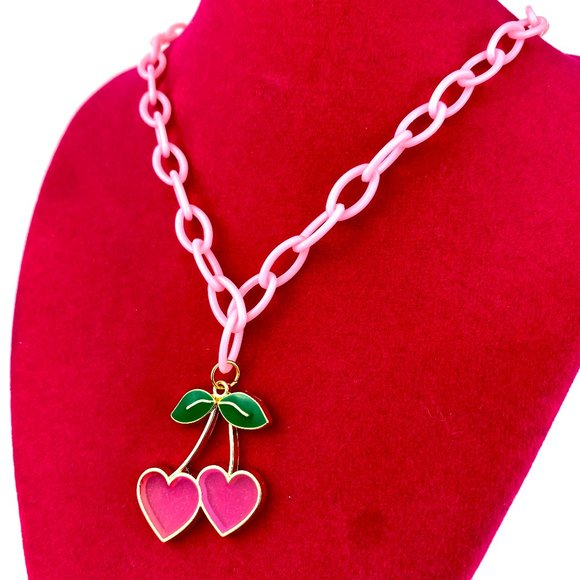 Cherry Heart Charm Pink Plastic Chain Necklace